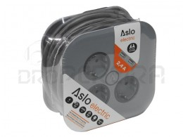 EXTENSAO MULTIFUNÇOES 3x2P+T/2xUSB 3G1.5 C/5M ASUSA ASLO